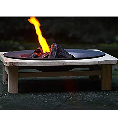 "FMXYMC Fire Pit Outdoor Wood Burning, 18.5"" Diameter Fire Bowl, 19.6""x19.6"" solid wood shelf, Cast Iron Firebowl, Outdoor Fireplace Heater,Kashiwagi Bracket by FMXYMC"