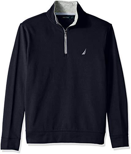 Nautica Men's Solid 1/4 Zip Fleece Sweatshirt, Navy, Large