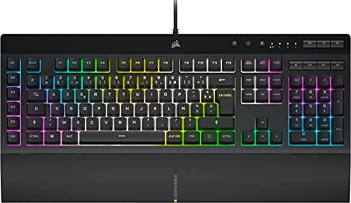 Corsair K55 RGB PRO XT Clavier Gaming à Membrane Filaire (Rétroéclairage RGB Dynamique, 6 Touches de Macro avec Intégration Logicielle Elgato, Résistance aux et à La Poussière IP42) AZERTY, Noir