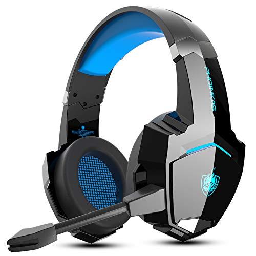 G9000 PS4 Headset, Wired Gaming Kopfhörer für Xbox One, PS5, PC, Upgraded Version Gaming Headset mit Abnehmbarem Mikrofon, Low Latency Wireless Headset für Phone, 7.1 Bass Surround, LED Licht -Blau