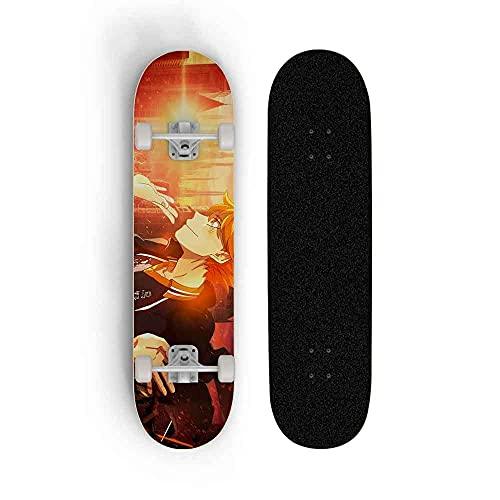 Kssmice Tablero de Deportes Extremos al Aire Libre, Tabla de Skate estándar, patineta para Haikyuu !!Hinata Shoyo, patineta cóncava clásica, patineta con Cuatro Ruedas Adultos Adolescentes SP Scooter