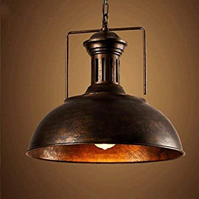 "Vintage Industrial Pendant Light, MKLOT 15.75"" Nautical Barn Hanging Lamp with Rustic Dome Shape Mounted Chandelier Lighting Fixture in Copper 1-Light with Chain"