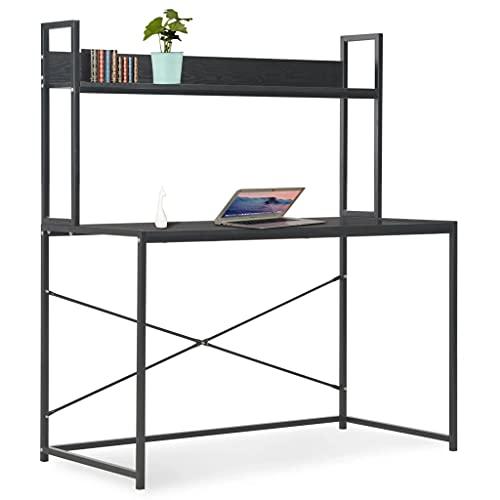 vidaXL Mesa Escritorio Ordenador Estantería Diseño Moderno Industrial Mueble Estante PC Computador Estudio Oficina Casa Trabajo Aglomerado Metal Negro