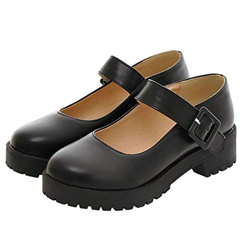 Caradise Womens Chunky Platform Mary Janes School Cosplay Uniform Shoes Size 8.5 B(M) US,Black