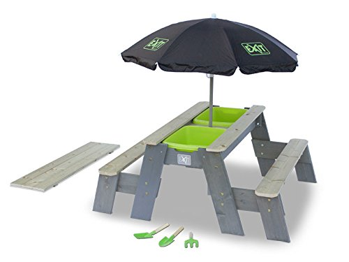 Sand-, Wasser- und Picknicktisch mit 2 Sitzbänken, Gartenwerkzeug und Sonnenschirm