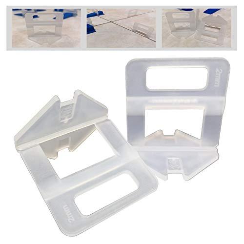1000 Stück StarterPack Laschen Fugenbreite 2mm, Zuglaschen Nivelliersystem Verlegen Fliesen Nivellierhilfe Levello Verlegehilfe für Fliesen Höhe 3-12 mm (S1-1000 Laschen, 2,0mm)