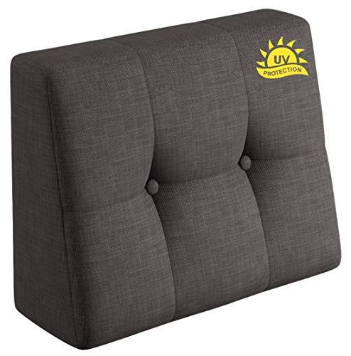 sunnypillow Palettenkissen Rückenlehne gesteppt UV - beständig Outdoor/Indoor Palettenauflage Palettenpolster Palettensofa Sitzkissen Seitenkissen 60x40x20/10cm Grey