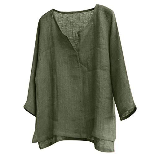 TUDUZ Camiseta Hombre Manga Larga Camisa Breve Respirable Confortable Top Algodón y Lino Color Sólido Ropa Otoño
