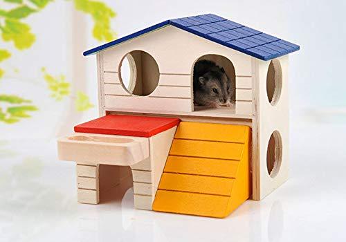 Weimilon Doppelstöckige Villa Igelhaus Holz Winterfest Bausatz Haustierzubehör Einfacher Stil Igelhütte Totoro Hamster Outdoor Kleines Haus (Color : 1, Size : 17X13X15)
