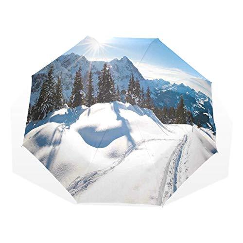 LASINSU Regenschirm,Panorama Winterlandschaft auf schneebedecktem Berg mit sonnigem Wetter und Baum Foto,Faltbar Kompakt Sonnenschirm UV Schutz Winddicht Regenschirm