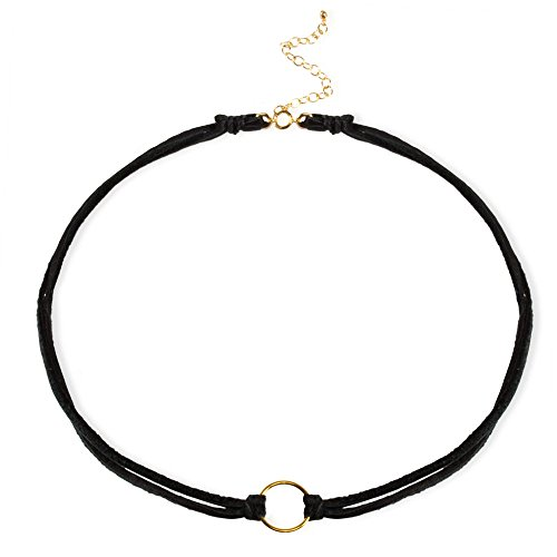 Dogeared Women's Karma Black Leather Choker Necklace Gold Dipped One Size