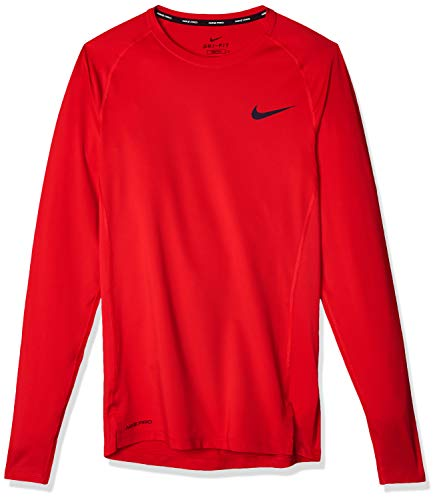 Nike M NP Top LS Tight T-Shirt à Manches Longues Homme, University Red/(Black), FR : S (Taille Fabricant : S)