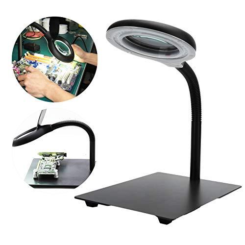 Lámpara de aumento LED, con cuatro soportes magnéticos Lámpara de escritorio para lupa, para reparación de relojes, joyería, reparación de(European standard 110-220V)