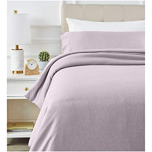 AmazonBasics Chambray Duvet Cover Set - 135 x 200 cm / 50 x 80 cm x 1, Purple Dusk
