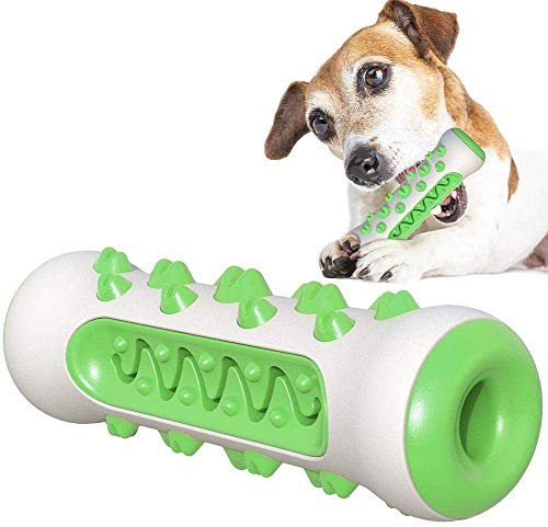 WINSHIDEN Dog Brush Puppy Chew Toy Stick Toothbrush, Cleaning Massager Nontoxic Pet Cat Teeth Cleaning Toys Multifunctional TPR + Nylon, Doggy Dental Care Accessory (Green)
