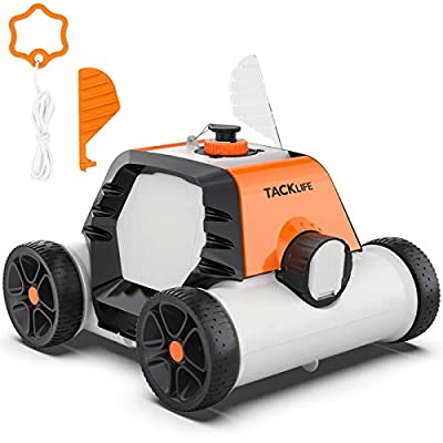 TACKLIFE Robotic Pool Cleaner, 90mins IPX8 Cordless Automatic Pool Vacuum with 2pcs Motors for Above/In-ground Flat Pool Up to 860 Sq.ft