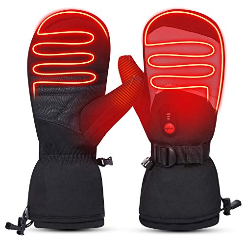 day wolf Heated Gloves Men Women 7.4V 2200mAh Electric Rechargeable Battery Gloves Mitten for Winter Sports Ski Snowboard Camping Hiking Heated Motorcycle Gloves