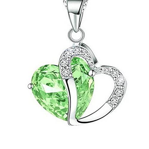 WEFH Collar con Colgante de Cadena de Diamantes de imitación para Mujer, Cadena de clavícula de circonita en Forma de corazón, Verde