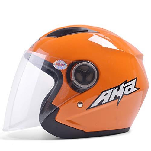 ZXW Casque- Casque de moto électrique Casque à lentille transparente universelle pour hommes et femmes Four Seasons (Couleur : Orange-30x25x23cm)