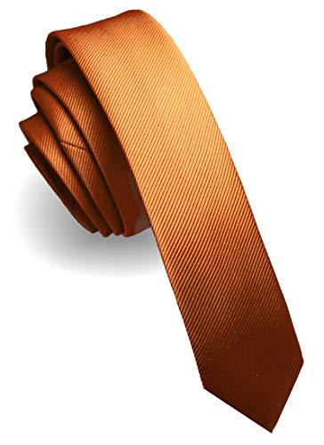 JEMYGINS schmale Herren Krawatte einfarbig in verschiedenen Farben 4cm, Hellorange, Slim