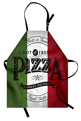 Lunarable Pizza Apron, Retro Grunge Italian Flag and Typographic Elements, Unisex Kitchen Bib with Adjustable Neck for Cooking Gardening, Adult Size, White Vermilion