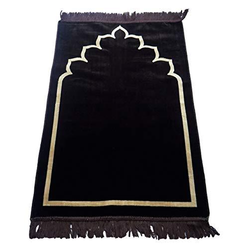 Tapis de prière traditionnel en daim épais et doux, décoré avec motif mihrab islamique oriental, 110 x 70 cm, idéal pour la maison, le bureau, voyage, hajj Umrah Masjid Janamaz