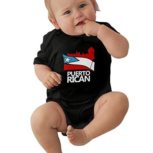 Desfile Puertorriqueño Bandera de Puerto Rico Ropa de Bebé Recién Nacido Niños Niñas Mono de Manga Corta Mono Mono Negro 12 M