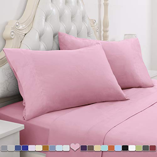 HOMEIDEAS 4 Piece Bed Sheet Set (Queen, Pink) 100% Brushed Microfiber 1800 Bedding Sheets - Deep Pockets