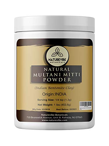 100% Pure & Natural Multani Mitti Powder | Fullers Earth Powder (Indian Bentonite Clay), 1lb by Naturevibe Botanicals, For Skin Care (16 ounces)