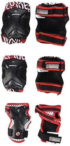 Powerslide Kinder Schoner Pro Robot Tri-Pack, Schwarz/Rot, XS, 906013