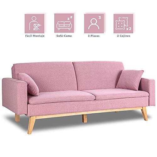 Don Descanso, Sofá Cama 3 plazas Reine, Tapizado en Tela, Color Rosa, Sistema Apertura de Libro o Clic-clac, Medida sofá: 206x74x83 cm, Medida Cama: 206x99x83 cm, Incluye 2 Cojines