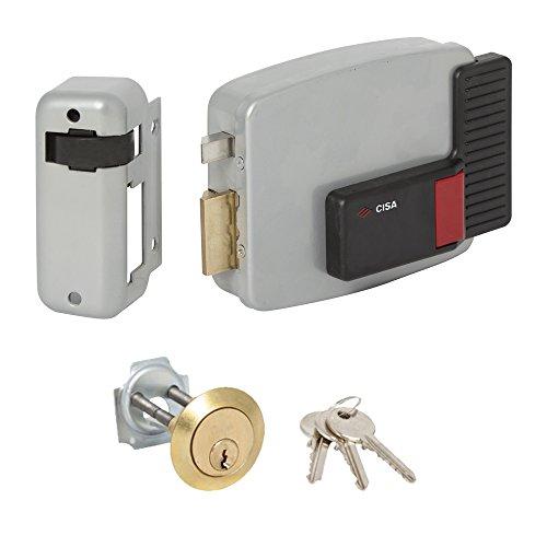 CISA 111610602 11610-60-2 Serratura EETTRICA Applicare Cilindro Staccato SX, 12 V, Verniciato Grigio Alluminio, Entrata 60