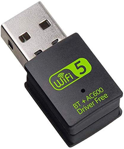 HAL WiFi Adaptador USB Bluetooth para PC, Dongle Inalámbrico 600 Mbps Doble Banda 2.4G/5.8G Adaptador USB Bluetooth Tarjeta de Red Receptor WiFi para Portátil Computadora de Escritorio Win10/8/8.1/7