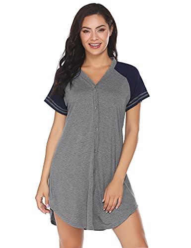 ADOME Still Nachthemd Damen Geburt Stillnachthemd Mutterschaft Schwangerschaft umstandsnachthemd Nachtwäsche Kurz Umstandsmode mit Durchgehender Knopfleiste geburtshemd für Schwangere