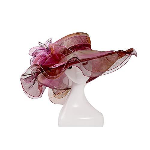 Frauen Organza Hüte, mehrere Farben Kleid Church Kentucky Derby Hochzeit Sommer Damen Zylinder Ascot Damen Tag breiter Rand Sonnenhut,F