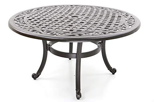 Hanseatisches Im- & Export Contor GmbH Table de Jardin, Fonte d\'aluminium,  Rond, Ø 90 cm, Hauteur 47 cm, Table Basse ou Table d\'appoint