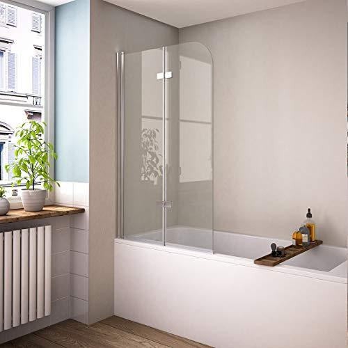 Bath-mann 120 x 140 cm Duschabtrennung Badewannenaufsatz Badewannenfaltwand 6mm Duschwand Badewanne mit Beidseitiger Nanobeschichtung Glas (180° Schwenkbar)