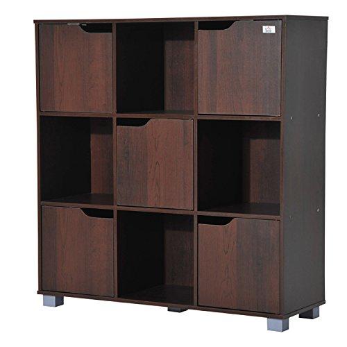 homcom Libreria Design Classico da Terra con 9 Scompartimenti Legno Massello 89.5 × 30 × 93cm Marrone