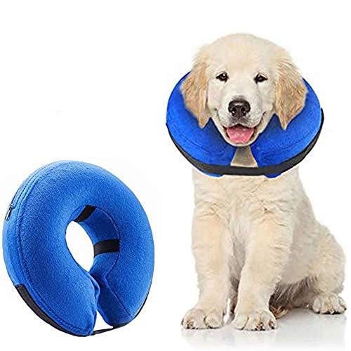 Supet Collare Cane Protettivo Gonfiabile Collare per Cani Collare Protettivo Collare Regolabile per Animali Collare Protettivo Confortevole con Velcro