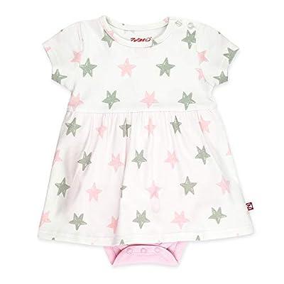 Zutano Baby Girl Organic Cotton Summer Dress, Pink Star/Romper, 9M