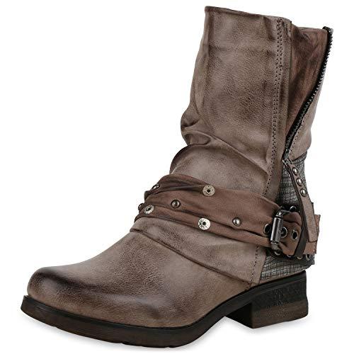 SCARPE VITA Damen Stiefeletten Biker Boots Leicht Gefütterte Stiefel Prints 172186 Khaki 38