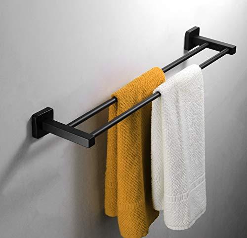 GDFEH Toallero Baño Toallero Baño Toallero Baño Pared Inox Posibilidad De Instalación Mediante Tornillería Toallero Negro Mate (Tamaño: 70cm)
