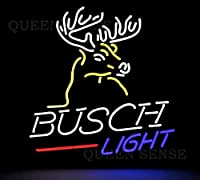 QUEEN SENSE Busch Light Deer Stag Buck ネオンサイン (様々なサイズ) ビールバー パブ 男性の隠れ家 ビジネスガラスランプ ライト DC283 20 Inches マルチカラー
