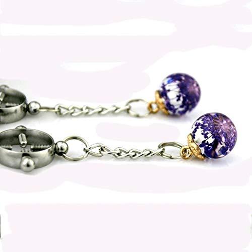 LQZYTY Trommel Lange Anhänger Kristall Runde Kreuz Nip * Ple Clip Edelstahl wasserdicht einstellbar weiblich (Color : Purple)