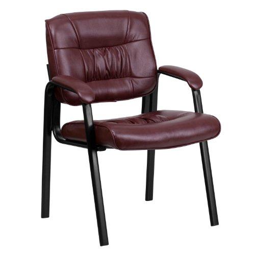 Flash Furniture Burgundy Leather Executive Side Reception Chair with Black Metal Frame , Burgundy Leather/Black Frame