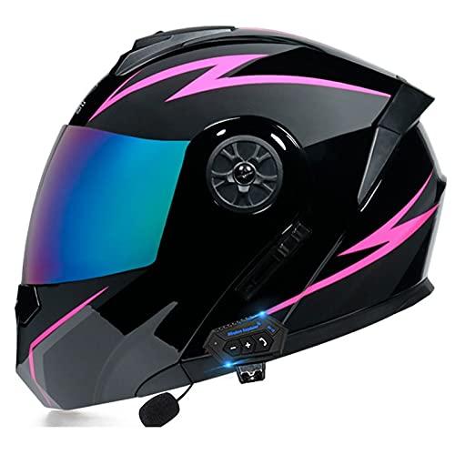 NS Bluetooth Casco Motocicleta Abatible Integrado Visera Integral Modular Ciclomotor Bicicleta De Calle Casco De Carreras para Adultos Hombres Mujeres (Color : T, Size : L)