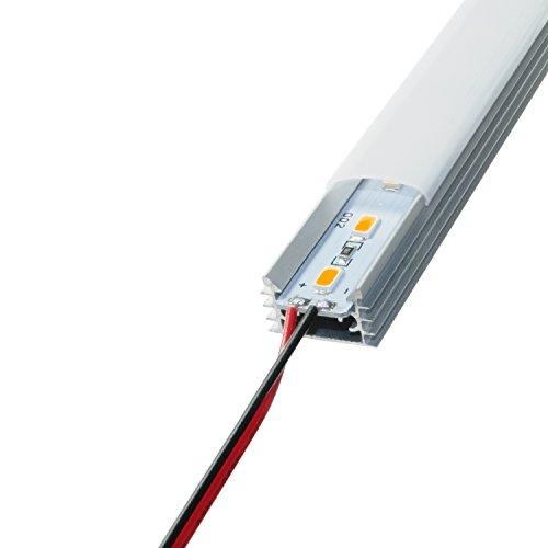 LED Aluschiene Set Alu Profil Schiene milchig Opel weißer Abdeckung ink. SMD Alustrip Hart Strip Lichtleiste Profil B milchig + Alu Strip Warmweiß 1 Meter