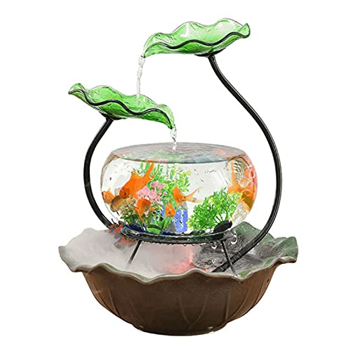 DUTUI Keramische Goldfischschale, Kleines Zirkulierendes Wasser Im Wohnzimmer Und in Der Bartheke Mit Festem Boden,Braun