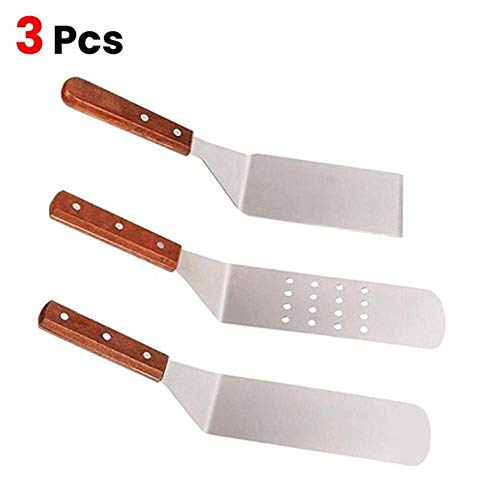 Piner Edelstahl Holzgriff Bratschaufel Küche Japanische Kochschaufel Gebratene Steak Schaufel Brennbrett Schaufel, Silber