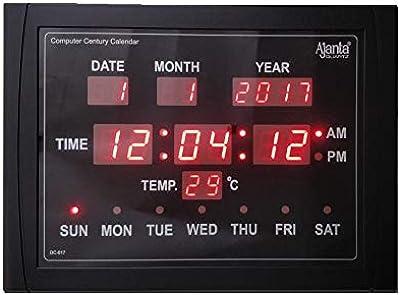Ajanta Quartz Digital Red LED Rectangle Wall Clock DC 017 (39.5 cm x 29.5 cm x 3.5 cm, Black)